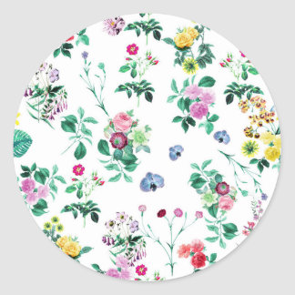 Floral Image Fash Classic Round Sticker