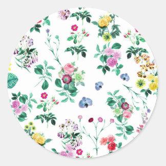 Floral Image Fash Round Sticker
