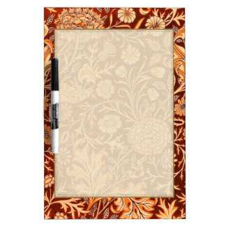 Floral in Fiery Red and Orange Dry Erase Board