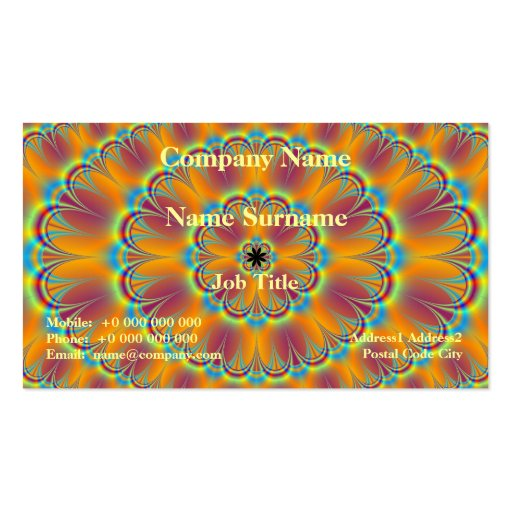 Floral in Green and Orange Card Business Card