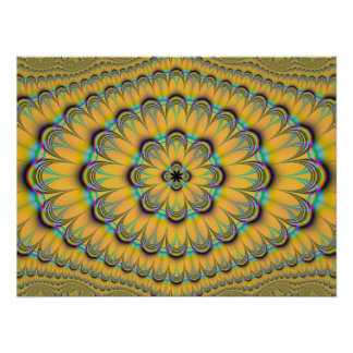 Floral in Yellow and Blue Poster