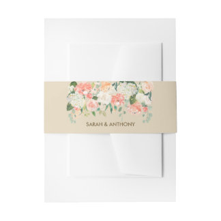 floral invitation belly band