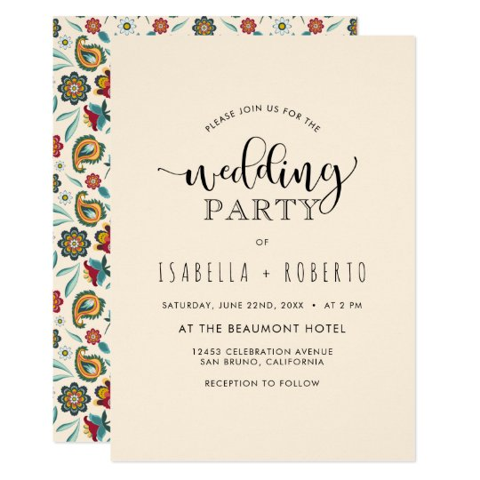 Floral Invitation | Colourful Boho Batik Wedding
