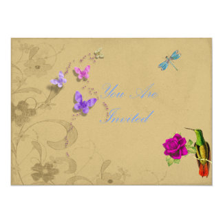 Floral Invites With Hummingbird and Butterflies