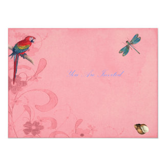 Floral Invites With Parrot and Dragonfly