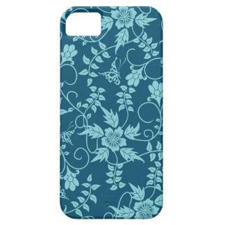 Floral iPhone 5 case teal blue green
