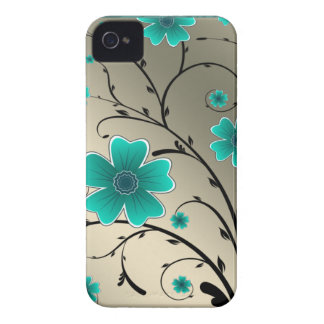 Floral Ivory aqua iPhone 4 Case