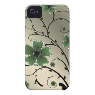 Floral Ivory green iPhone 4 Case-Mate Cases