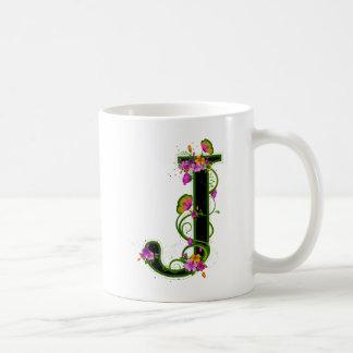 Floral J Basic White Mug