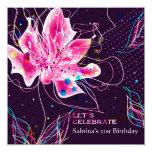 Floral Jubilee - Birthday Party Invitation 13 Cm X 13 Cm Square Invitation Card