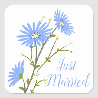 Floral Just Married Daisy Flowers Blue Wedding Square Sticker