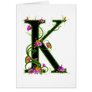 Floral K Card