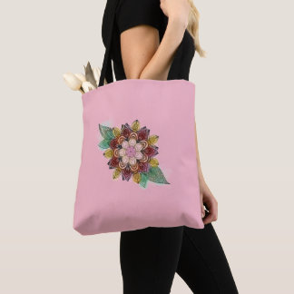 Floral kaleidoscope on pretty pink tote bag