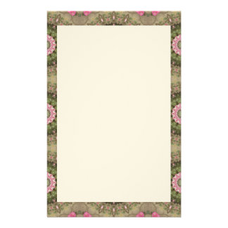 Floral Kaleidoscope, Pink Green Brown Border Stationery