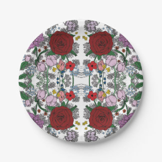 Floral Kaleidoscope Plates 7 Inch Paper Plate