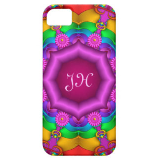 Floral kaleidoscope with Monogram iPhone 5 Cases