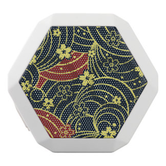 Floral Kimono Pattern in Night Colors White Boombot Rex Bluetooth Speaker