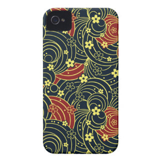 Floral Kimono Pattern in Night Colors iPhone 4 Case-Mate Case