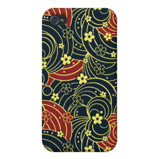 Floral Kimono Pattern in Night Colors iPhone 4 Cases
