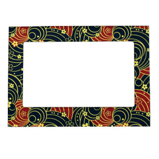 Floral Kimono Pattern in Night Colors Magnetic Picture Frame