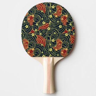 Floral Kimono Pattern in Night Colors Ping Pong Paddle