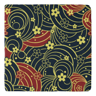 Floral Kimono Pattern in Night Colors Trivet