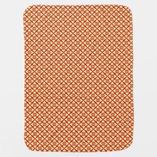 Floral kimono print, mandarin orange pramblanket