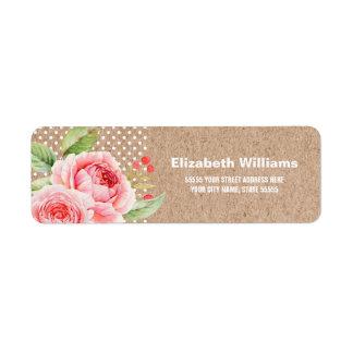 Floral Kraft Paper Wedding Return Address Labels