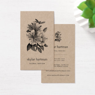 Floral Kraft | Vertical Business Card