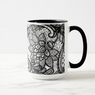 Floral Lace B&W Coffee Cup