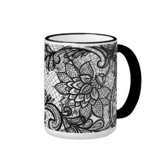 Floral Lace B&W Coffee Cup Ringer Mug