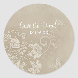 Floral Lace Butterfly Wedding Round Sticker