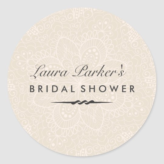 Floral Lace | Cream Bridal Shower Sticker