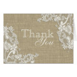 Floral Lace Design and Burlap Thank You Note Card