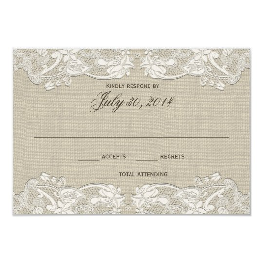 Floral Lace Design Wedding Response Card