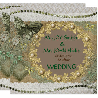 Floral Lace Embroidery Style Wedding Invitation