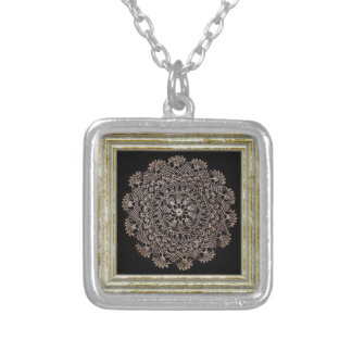 Floral Lace Pattern Silver Plated Necklace