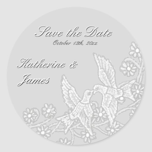 Floral Lace Platinum Save the Date Sticker