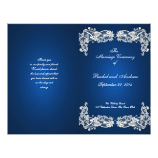 Floral Lace Sapphire Blue Wedding Program Flyer