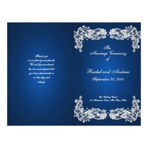 Floral Lace Sapphire Blue Wedding Program Full Color Flyer