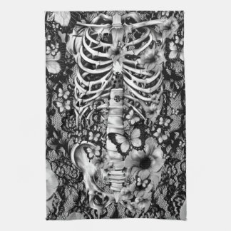 Floral lace skeleton with butterflies tea towel