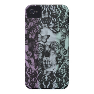 Floral Lace subtle striped skull iPhone 4 Covers