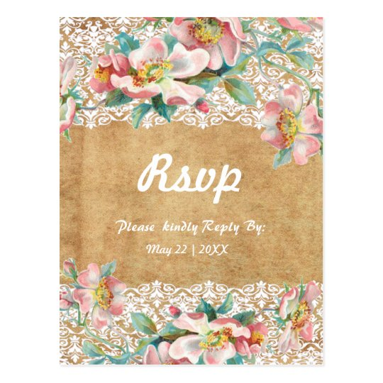 Floral lace with personalised background postcard