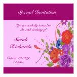 Floral Lady Birthday Invitations