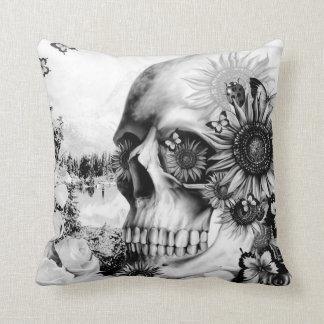 Floral landscape skull cushion