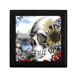 Floral landscape skull trinket box