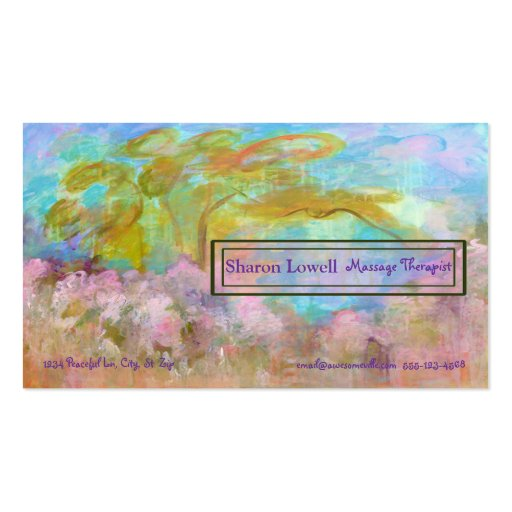 Floral Landscape Tree Abstract Art Painting Business Card Templates