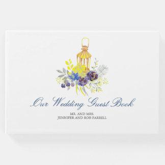 Floral Lantern Blue Yellow Wedding Guest Book