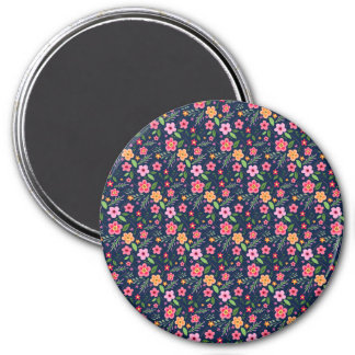 """Floral"" Large, 3 Inch Round Magnet"