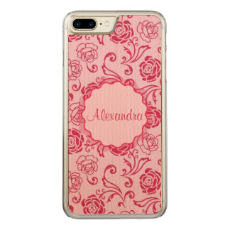 Floral lattice pattern of tea roses on pink name carved iPhone 7 plus case